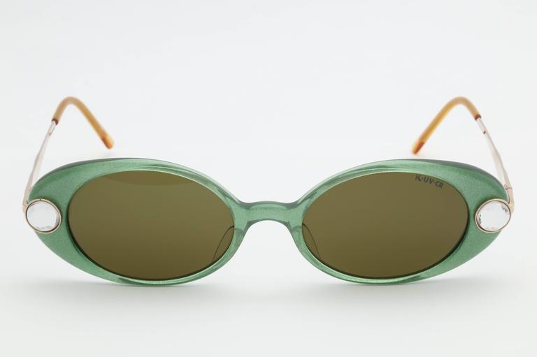 a4cab31adda6 Green Vintage Krizia Rhinestone Sunglasses In Excellent Condition For Sale  In New York