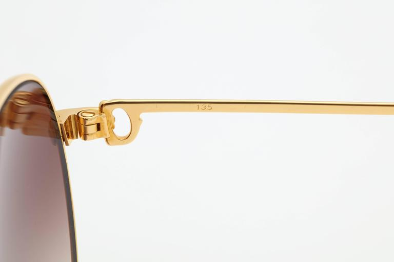 Vintage Cartier Sapphire Sunglassses 55 mm In Excellent Condition For Sale In New York, NY
