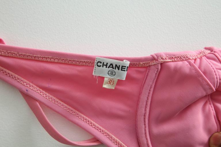 Vintage Chanel 1995 Pink Bikini with CC For Sale 5