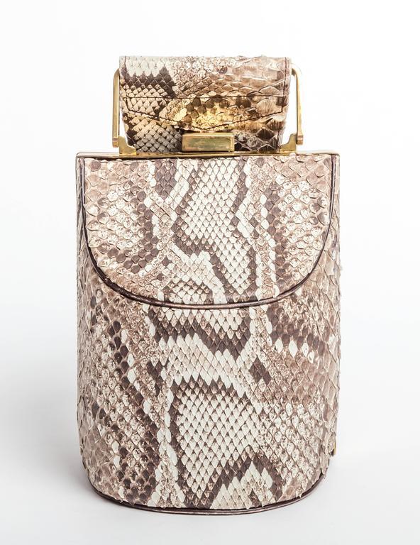 Beige Vintage Python Box Handbag with Top Handle For Sale