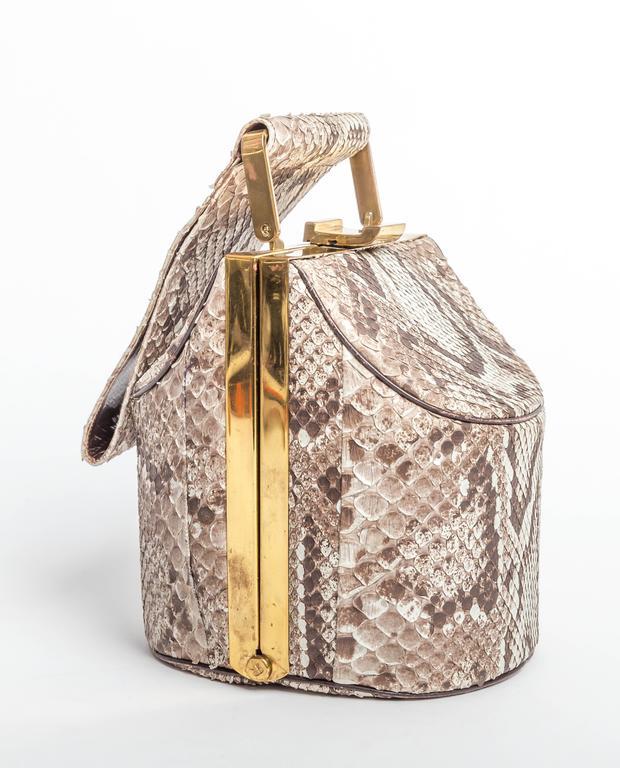 Women's Vintage Python Box Handbag with Top Handle For Sale