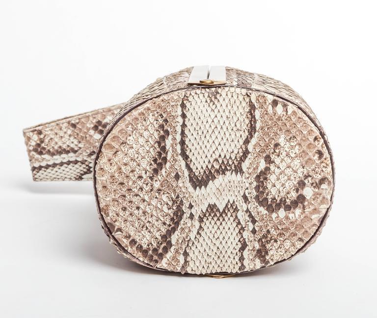 Vintage Python Box Handbag with Top Handle For Sale 1