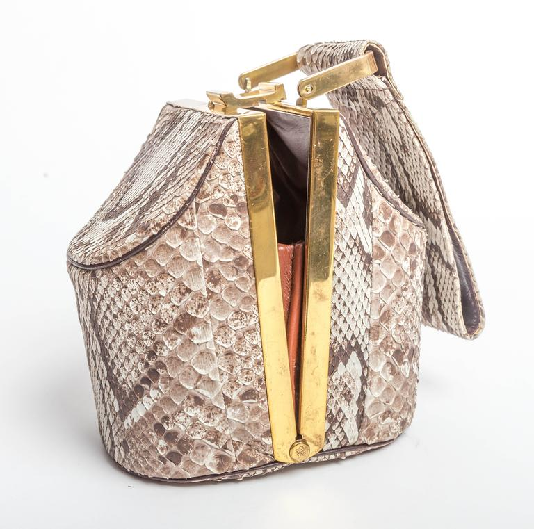 Vintage Python Box Handbag with Top Handle For Sale 2