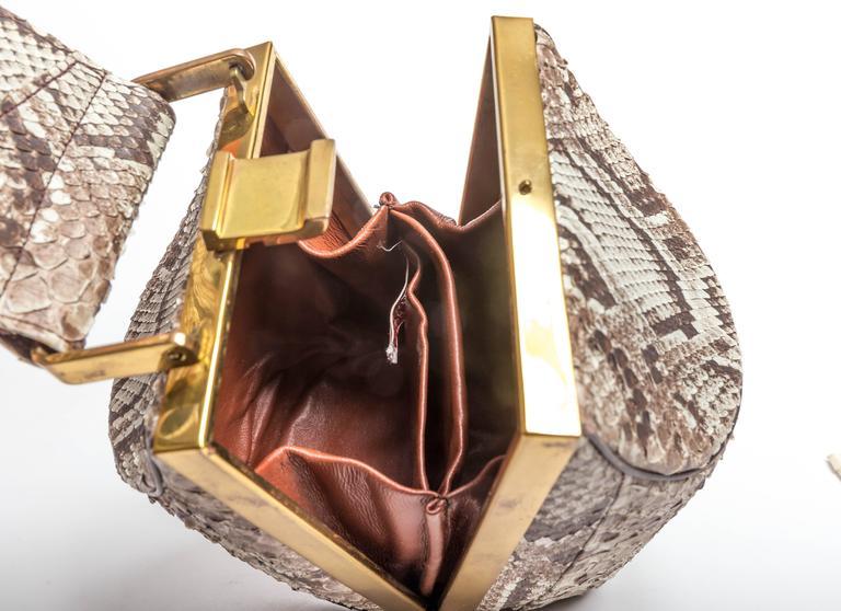 Vintage Python Box Handbag with Top Handle For Sale 4
