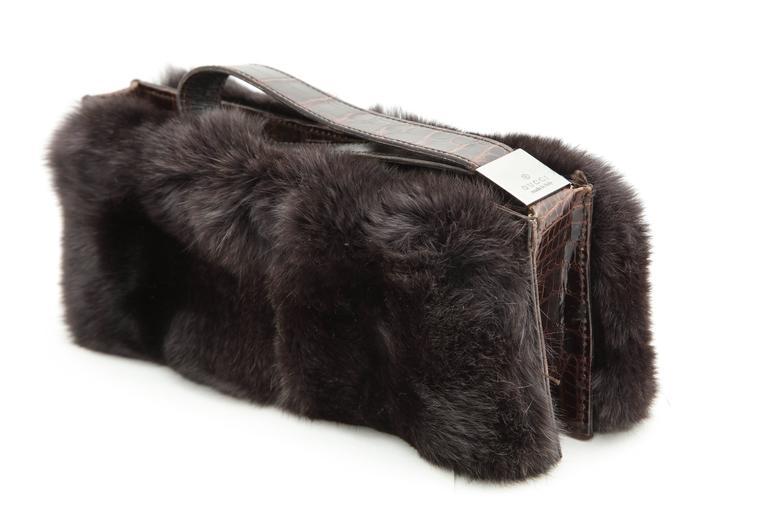 Gucci Fur and Crocodile Clutch Bag 2