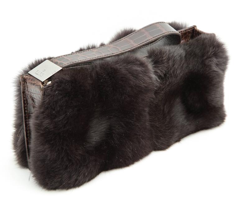 Gucci Fur and Crocodile Clutch Bag 3