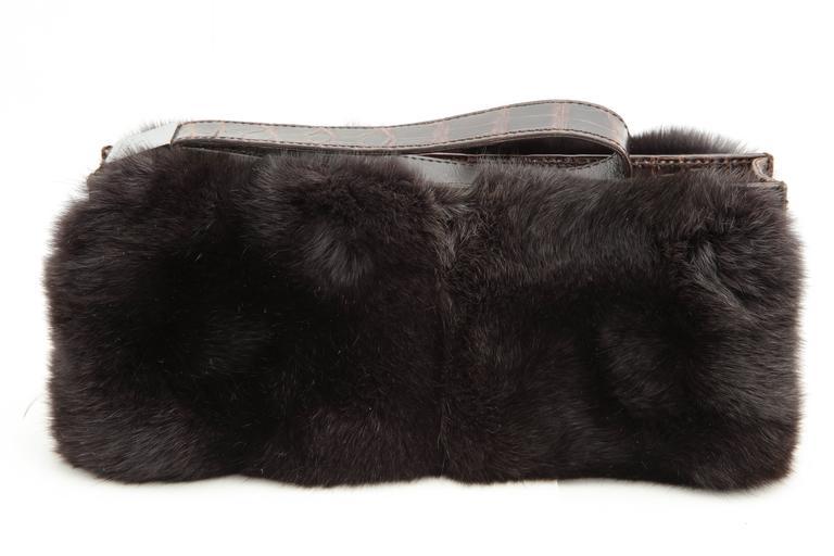 Gucci Fur and Crocodile Clutch Bag 4
