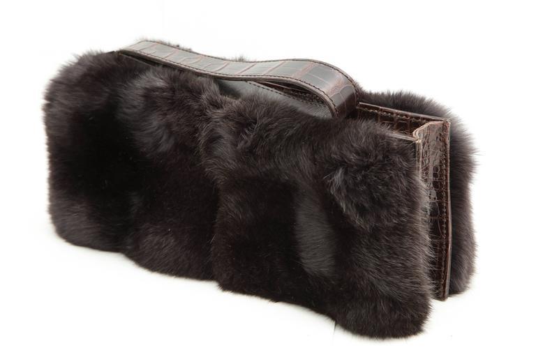 Gucci Fur and Crocodile Clutch Bag 5
