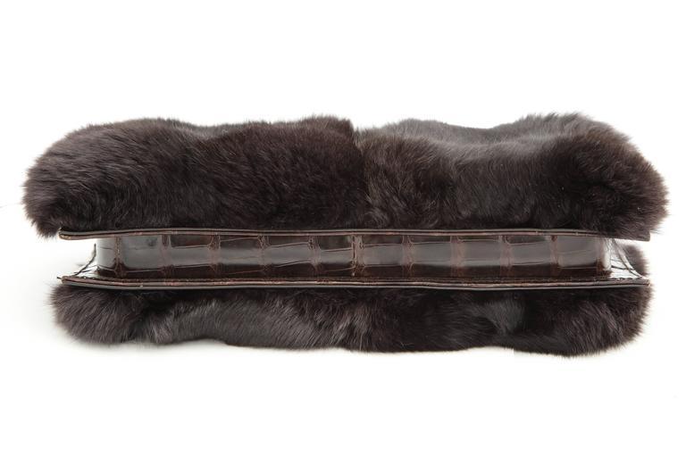 Gucci Fur and Crocodile Clutch Bag 6