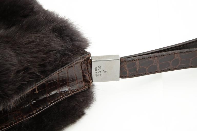 Gucci Fur and Crocodile Clutch Bag 7