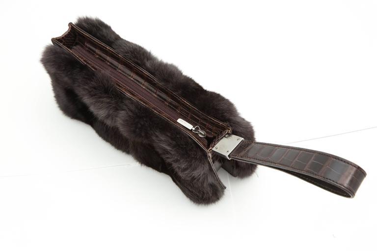 Gucci Fur and Crocodile Clutch Bag 8