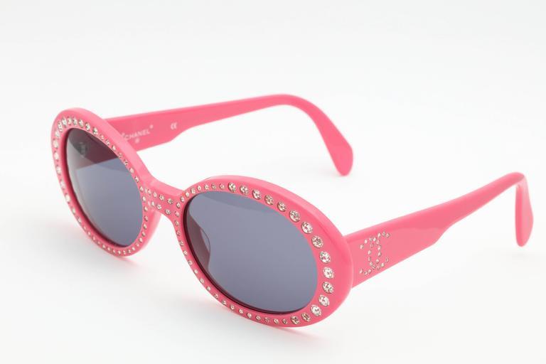 Pink Vintage Chanel Rhinestone Sunglasses 2