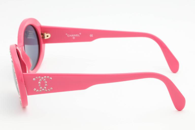 Pink Vintage Chanel Rhinestone Sunglasses 3