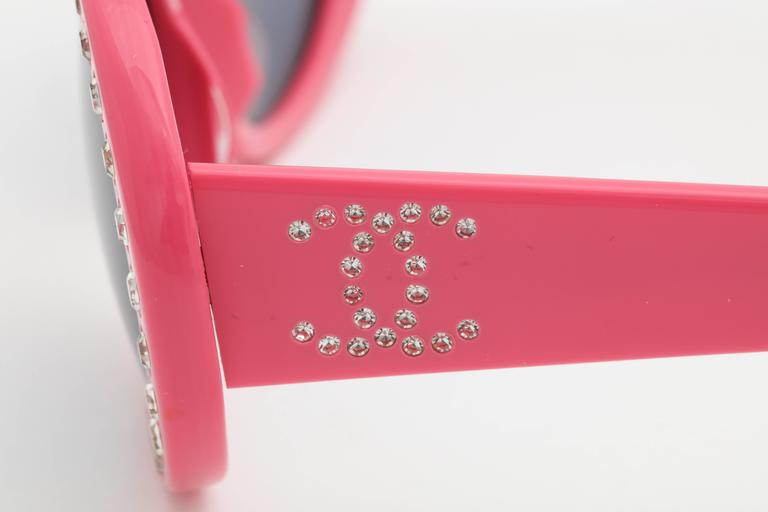 Pink Vintage Chanel Rhinestone Sunglasses 4