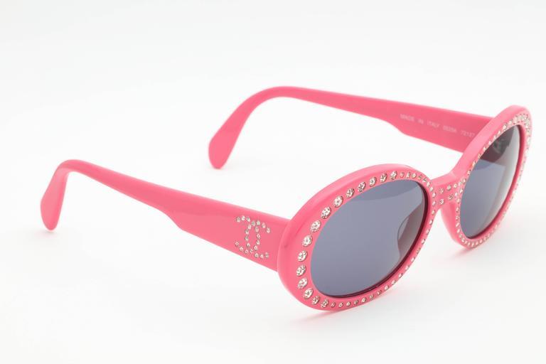 Pink Vintage Chanel Rhinestone Sunglasses 7