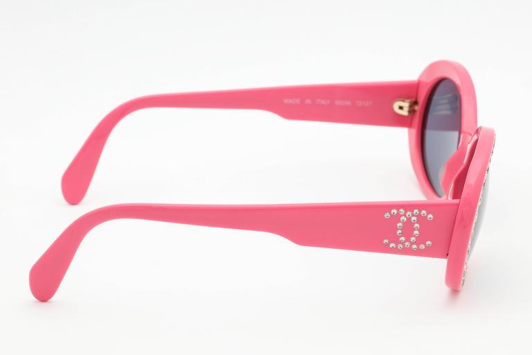 Pink Vintage Chanel Rhinestone Sunglasses 8