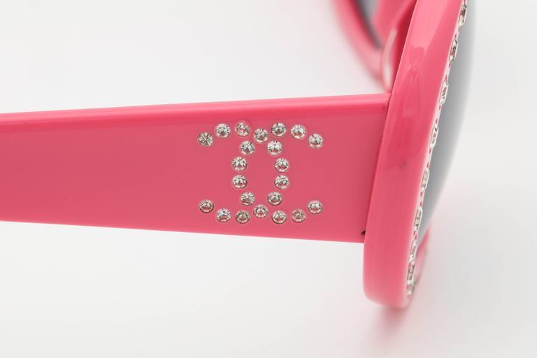 Pink Vintage Chanel Rhinestone Sunglasses 9