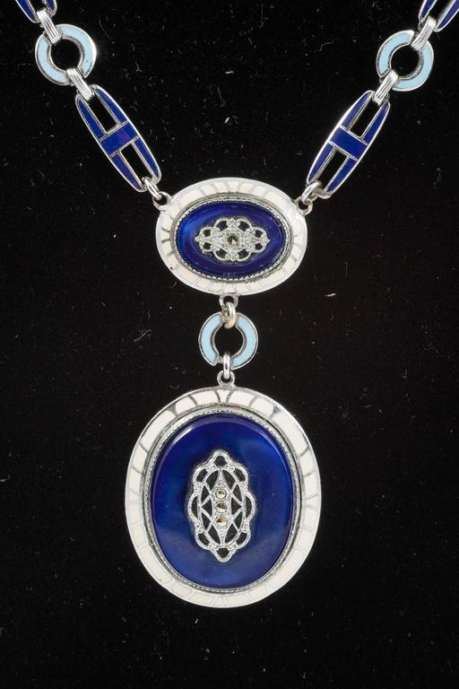 Art Deco enamel and chrome pendant necklace, 1930s  2