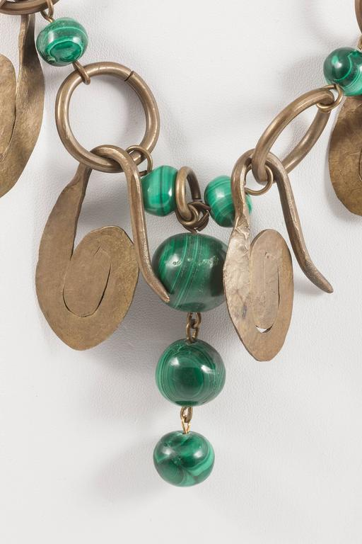 Boho handmade brass and malachite necklace, 1960s 2