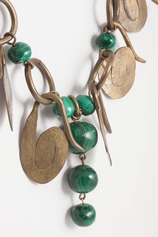 Boho handmade brass and malachite necklace, 1960s For Sale 1