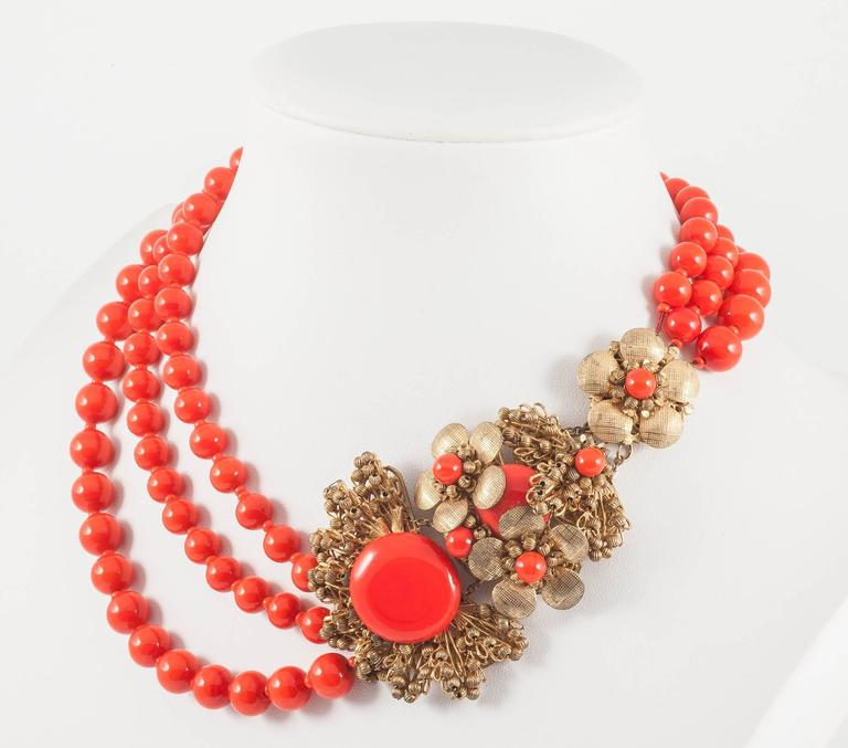 Miriam Haskell vivid red glass multi row necklace, 1960s 4