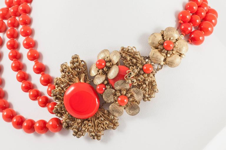 Miriam Haskell vivid red glass multi row necklace, 1960s 6