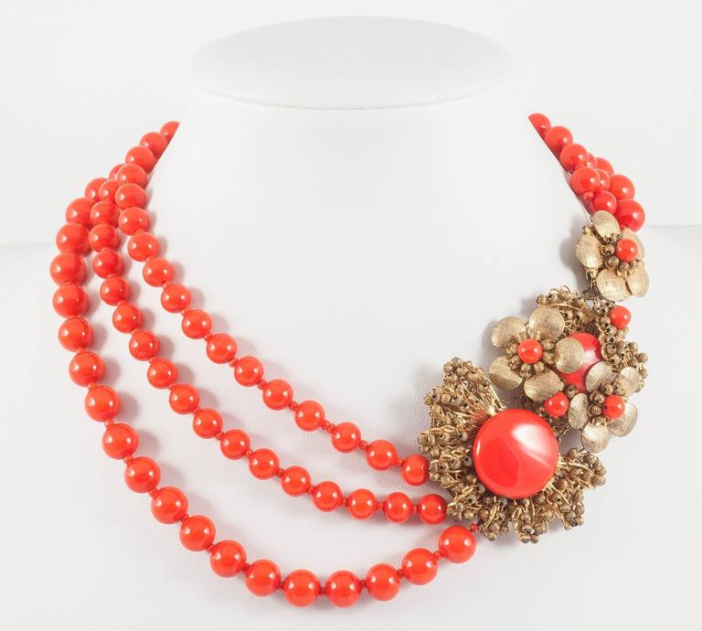 Miriam Haskell vivid red glass multi row necklace, 1960s 2