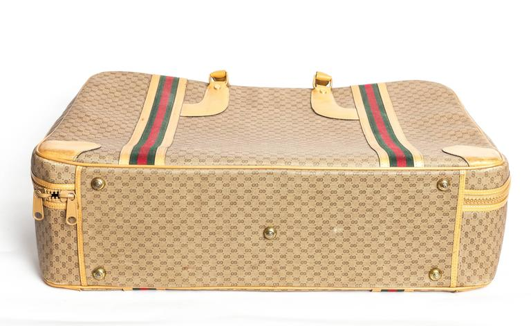 Gucci Soft Tan Monogram Suitcase With Heritage Stripe 25gLabTOz