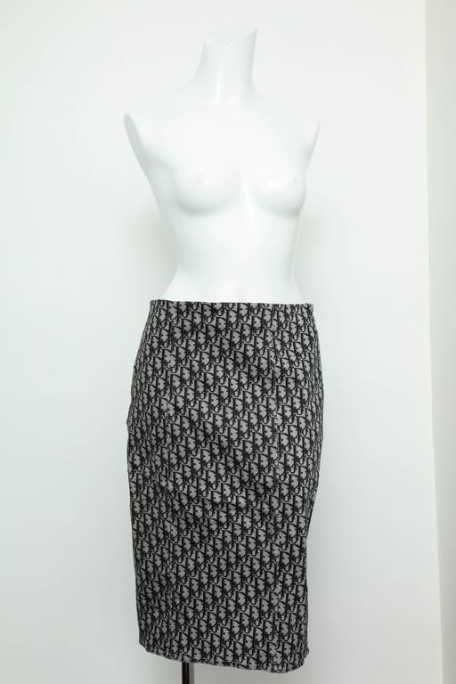 Very rare John Galliano for Christian Dior black trotter logo skirt. French size 40  Waist: 29
