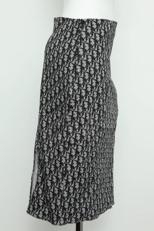 John Galliano for Christian Dior Black Trotter logo Skirt  In Excellent Condition In Chicago, IL