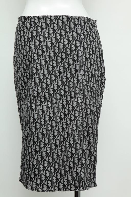 Women's John Galliano for Christian Dior Black Trotter logo Skirt