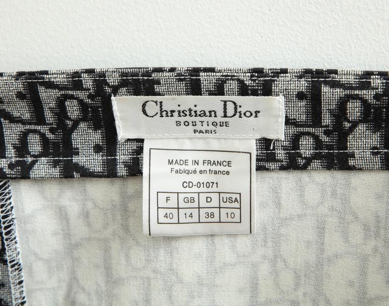 John Galliano for Christian Dior Black Trotter logo Skirt  2
