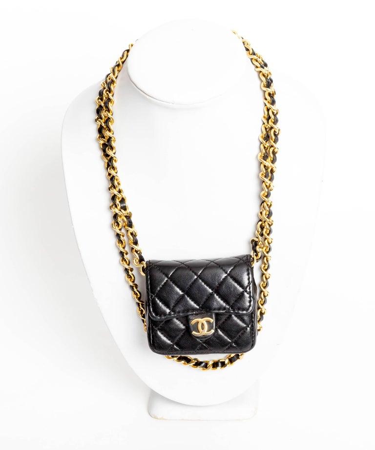 34bbaf4f9af2 Vintage Chanel Mini Mini Matelasse Chain Bag Necklace For Sale at 1stdibs