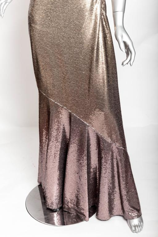Donna Karan Black Label Bronze Sequin One Shoulder Gown - US 12 / GB 14 / IT 46 In Excellent Condition For Sale In Westhampton Beach, NY