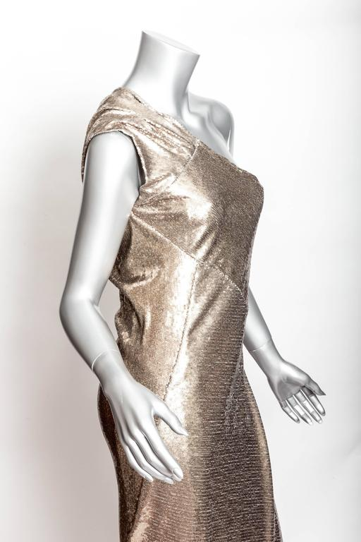 Donna Karan Black Label Bronze Sequin One Shoulder Gown - US 12 / GB 14 / IT 46 For Sale 1