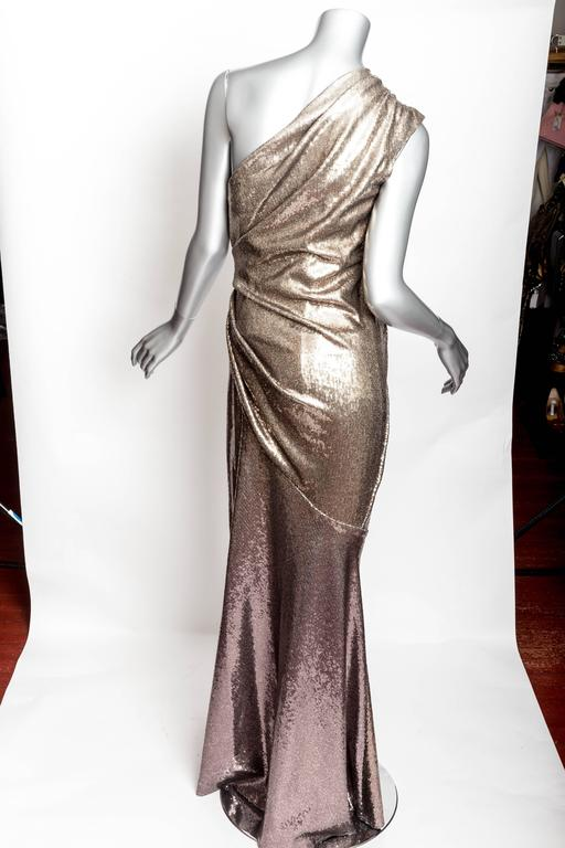 Donna Karan Black Label Bronze Sequin One Shoulder Gown - US 12 / GB 14 / IT 46 For Sale 2