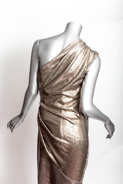 Donna Karan Black Label Bronze Sequin One Shoulder Gown - US 12 / GB 14 / IT 46 For Sale 3