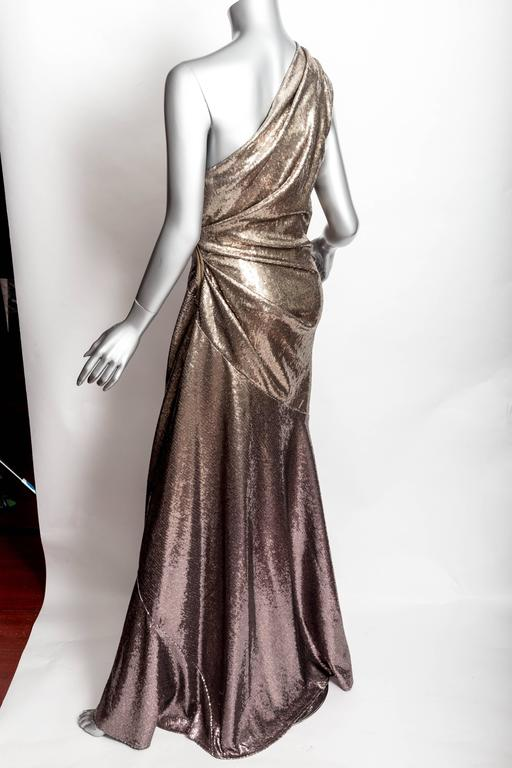 Donna Karan Black Label Bronze Sequin One Shoulder Gown - US 12 / GB 14 / IT 46 For Sale 4