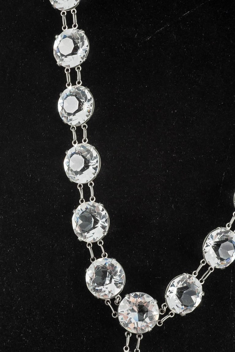 Art Deco Huge chrome and crystal necklace, 1920s For Sale