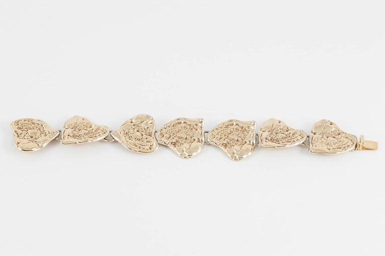 Yves Saint Laurent rusticated gilt metal 'hearts'  bracelet, 1980s In Good Condition For Sale In London, GB