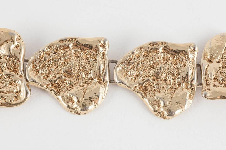 Women's or Men's Yves Saint Laurent rusticated gilt metal 'hearts'  bracelet, 1980s For Sale