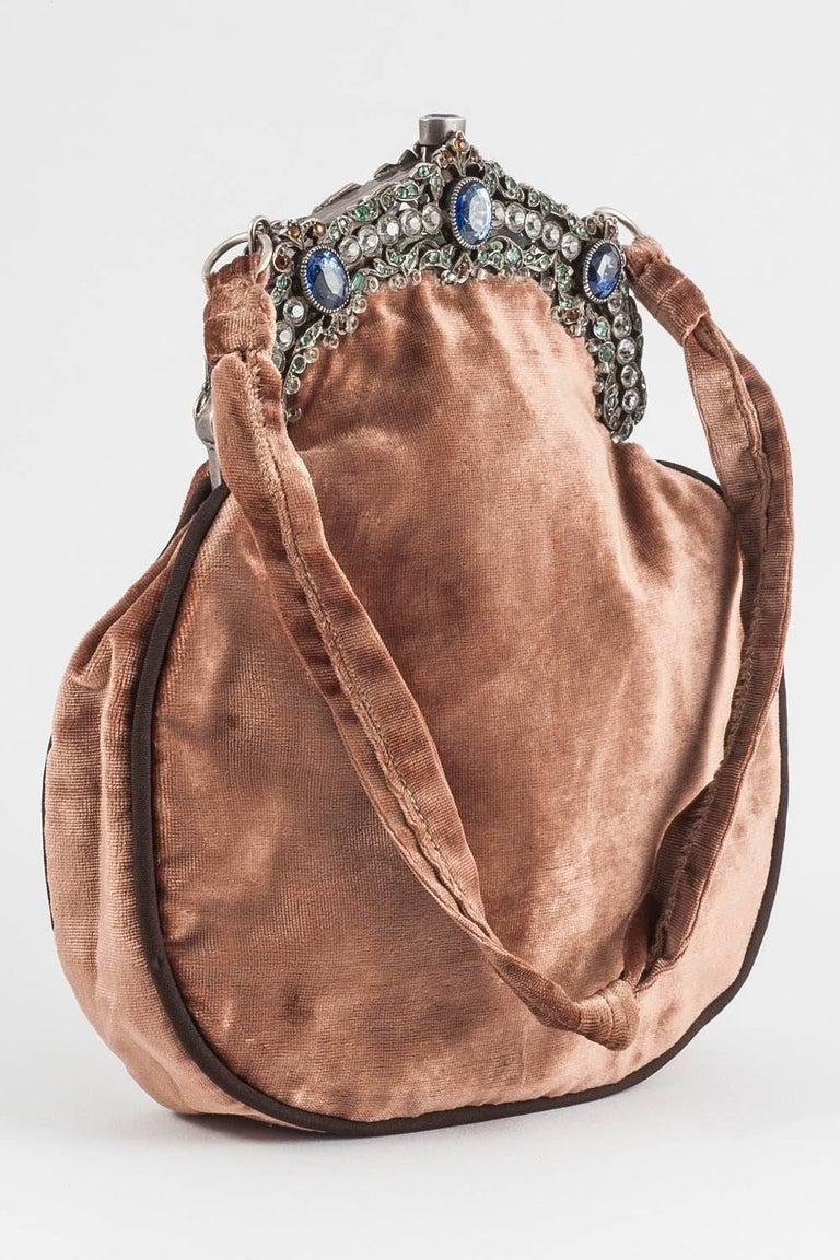 Brown Jewelled framed velvet handbag, Italy, 1920s For Sale