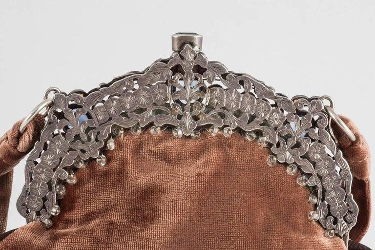 Women's Jewelled framed velvet handbag, Italy, 1920s For Sale