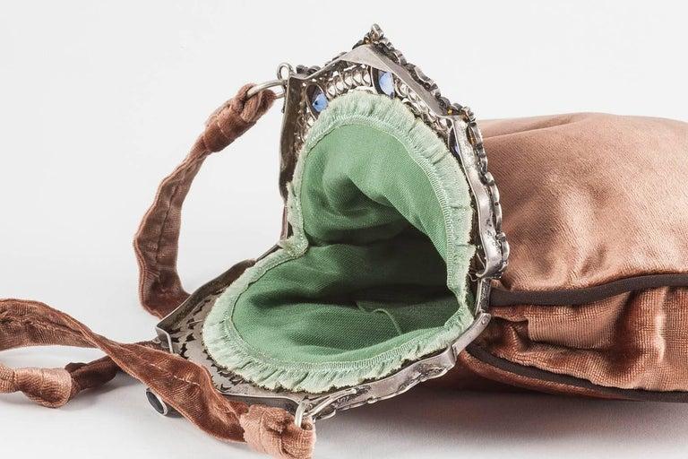 Jewelled framed velvet handbag, Italy, 1920s For Sale 1