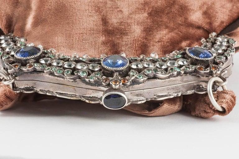 Jewelled framed velvet handbag, Italy, 1920s For Sale 2