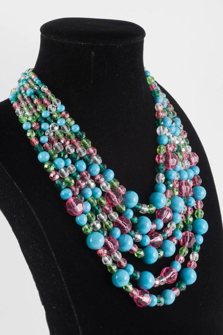 Beautiful multi row and glass bead necklace, Coppola e Toppo, 1950s 3
