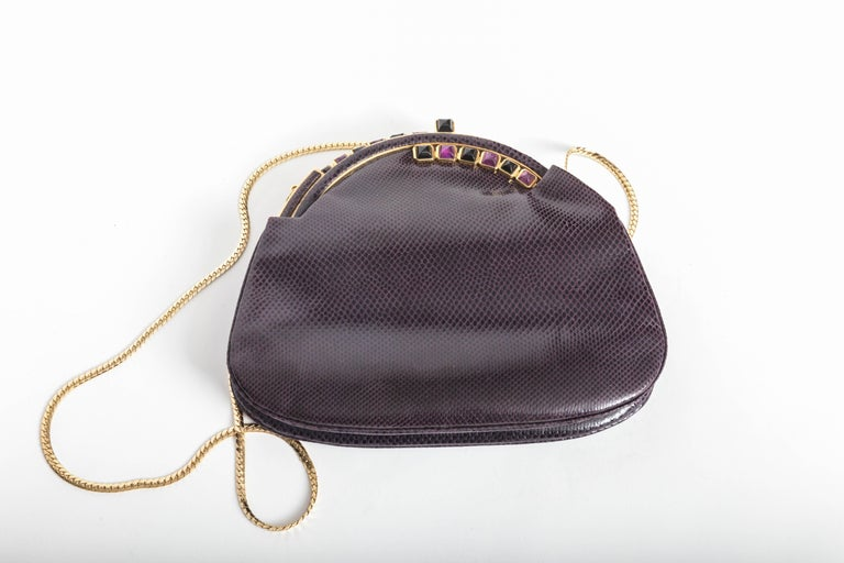 Judith Leiber Eggplant Snakeskin Clutch with Semiprecious Stones  For Sale 4