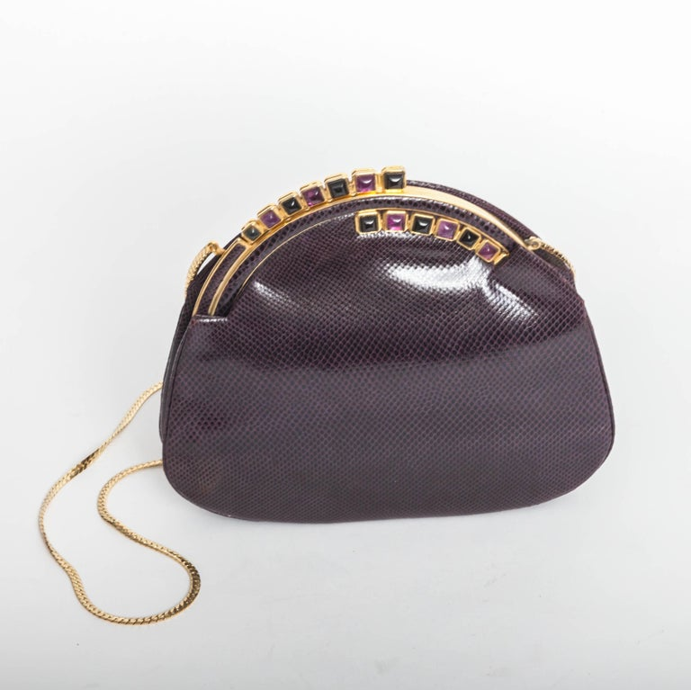 Judith Leiber Eggplant Snakeskin Clutch with Semiprecious Stones  For Sale 5