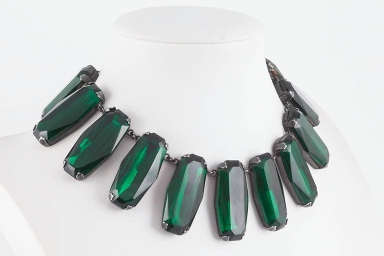Superb deep emerald glass panel necklace, Yves Saint Laurent, 1980s In Excellent Condition For Sale In London, GB