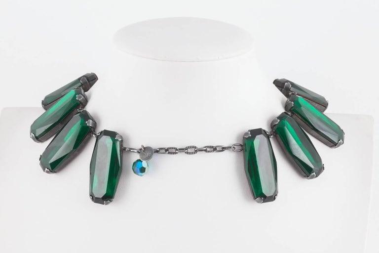 Women's Superb deep emerald glass panel necklace, Yves Saint Laurent, 1980s For Sale